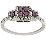 3-Stone Purple Diamond Ring, Sterling, 1/2 cttw, by Affinity - J289806