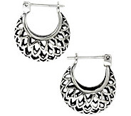 Novica Artisan Crafted Sterling Lotus Hoop Earrings - J307506