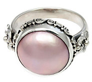 Novica Artisan Crafted Sterling Pink Cultured Mabe Pearl Ring - J310806