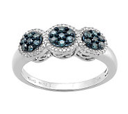 Blue Diamond Cluster Ring, Sterling, 1/2 cttw,by Affinity - J311006