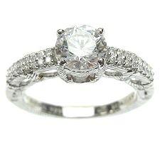 Judith Ripka Sterling Diamonique Round Pave Ring