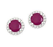 Sterling Ruby 1/4 ct tw Diamond Halo Stud Earrings - J314106