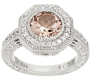 Judith Ripka Sterling Morganite and Diamonique Ring - J317506