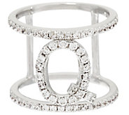 White Bronze Crystal Initial Ring by Bronzo Italia - J321206
