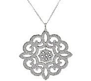 VicenzaSilver Sterling Scroll Design Glitter Pendant w/Chain - J321406