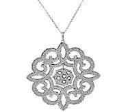 VicenzaSilver Sterling Scroll Design Glitter Pendant w/Chain - J321406