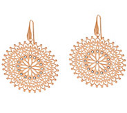 Bronze Round Cut-out Crystal Drop Earrings by Bronzo Italia - J321506
