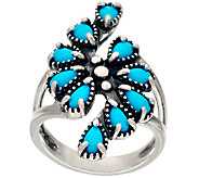 Sleeping Beauty Turquoise Sterling Silver Cluster Ring by American West - J322206