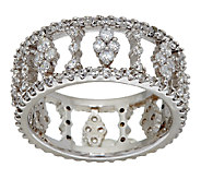 Diamonique Open Design Band Ring, Platinum Clad - J324406
