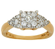 Princess Cluster Design Diamond Ring, 14K, 3/4 cttw, by Affinity - J324606