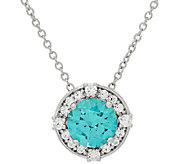 Diamonique Simulated Apatite Halo Pendant, Sterling - J326006
