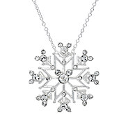 As Is Disney Crystal Hidden Mickey Snowflake Pendant w/Chain - J328406