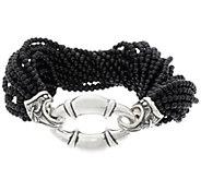 Scott Kay Sterling Silver Black Onyx Bead Bolo Torsade Bracelet - J329406