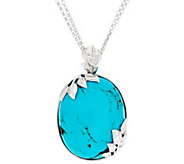 Bold Kingman Turquoise Leaf Design Sterling Silver Enhancer on 18 Chain - J329506