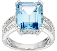 Diamonique & Emerald Cut Color Ring, Sterling - J331506