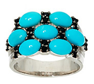 As Is Sleeping Beauty Turquoise & Black Spinel Sterling Ring - J333806
