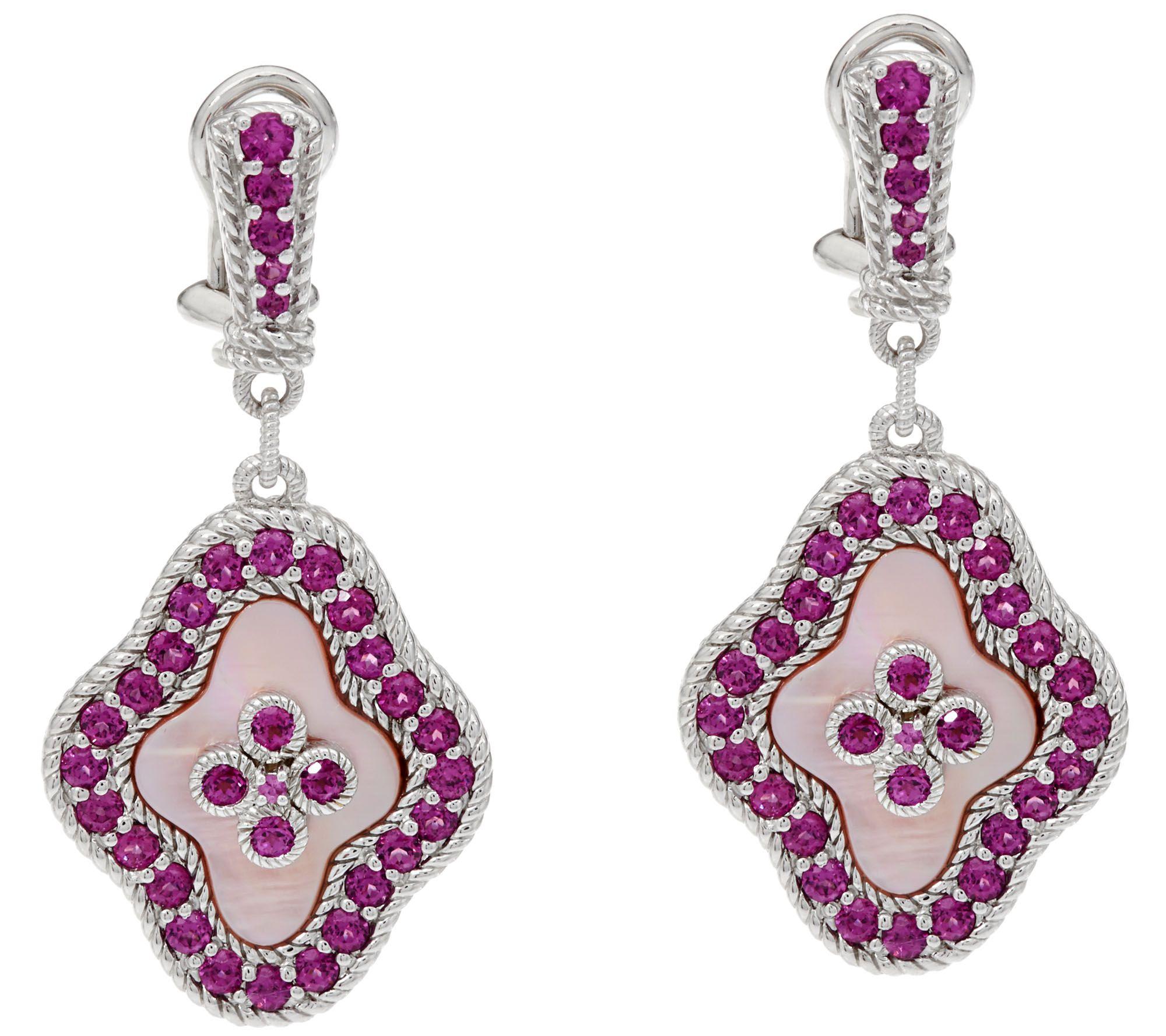 Judith Ripka Sterling_pink Mother Of Pearl & Rhodolite Earrings  J334206