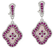 Judith Ripka Sterling_Pink Mother of Pearl & Rhodolite Earrings - J334206