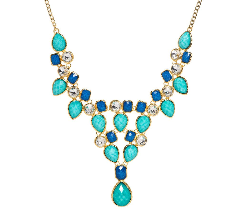 quot as is quot amrita singh simulated turquoise lapis necklace qvc