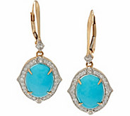 Sleeping Beauty Turquoise & 3/10 cttw Diamond Earrings, 14K - J346306