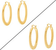 As Is Bronze 2 Oval Hoop Earrings by Bronzo Italia - J347306