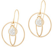Diamonique Floating Stone Dangle Earrings, 14K Gold - J350006