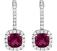 14K 1.50 cttw Grape Garnet & White Zircon Earrings - J376906