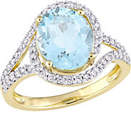 14K Gold 2.75 ct Aquamarine and 1/2 cttw Diamond Swirl Ring - J377106