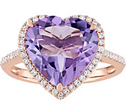 14K 5.35 ct Amethyst & 1/4 cttw Diamond Heart Halo Ring - J377806