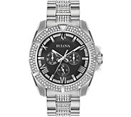 Bulova Mens Swarovski Crystal Black Dial Watch - J378506
