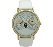 Oliva Pratt Womens Sparkly Owl White Leather Watch - J379406