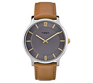 Timex Mens Metropolitan Brown Leather Strap Analog Watch - J380606