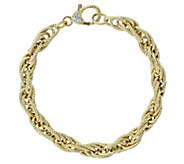 Judith Ripka Verona 14K Clad Textured Rope Bracelet, 10g - J381406