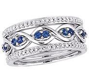 14K Gold Gemstone & Diamond Infinity 3-Piece Ring Set - J382606