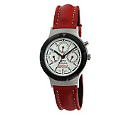 Gino Franco Mens Multifunction Red Leather Strap Watch - J107107