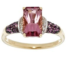 Master Cut 1.95 ct tw Pink Tourmaline & Diamond Accent Ring, 14K Gold