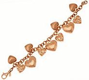 Veronese 18K Clad 7-1/4 Textured Heart Charm Bracelet, 23.0g - J271207