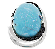 Turquoise & 0.70 ct tw Black Spinel Elongated Sterling Ring - J281807