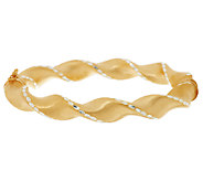 Veronese 18K Clad Average Satin & Diamond Cut Ribbon Twist Bangle - J281907