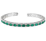 Judith Ripka Sterling 2.50cttw Emerald & White Topaz Cuff - J284407