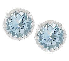 1.25 ct tw Aquamarine Round Sterling Stud Earrings