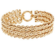 14K Gold 7-1/4 Polished & Diamond Cut Triple Row Bracelet, 13.2g - J289307