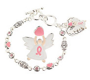 Pink Ribbon Angel Lapel Pin and Bracelet Set byGarold Miller - J300507