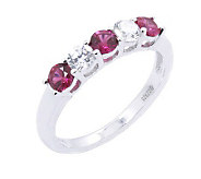 Diamonique & Simulated Ruby 5 Stone Ring, Platinum Clad - J302407