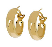 Veronese 18K Clad 1 Oval Hoop Earrings with Omega Backs - J304407