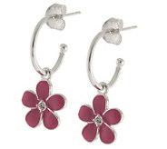 Mixers Sterling Enamel Flower Charm Hoop Earrings - J304707