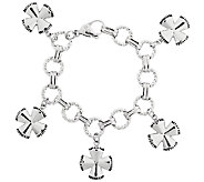 Stainless Steel Maltese Cross Charm Bracelet - J317207