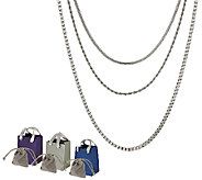 Stainless Steel Set of Three Chains w/Gift Bags and Pouch - J317407