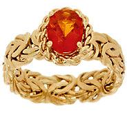 As Is 14K Gold 0.70 ct Fire Opal Byzantine Ring - J319107