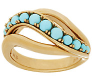 14K Gold Sleeping Beauty Turquoise Bead Ring - J319607